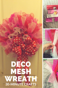 Step-by-step how-to making a curly deco mesh wreath.