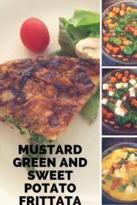 Mustard green and sweet potato frittata recipe.