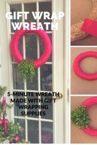 Make a wreath in five minutes using gift wrap supplies.