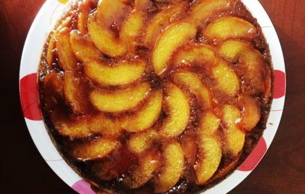 peach upside-down cake